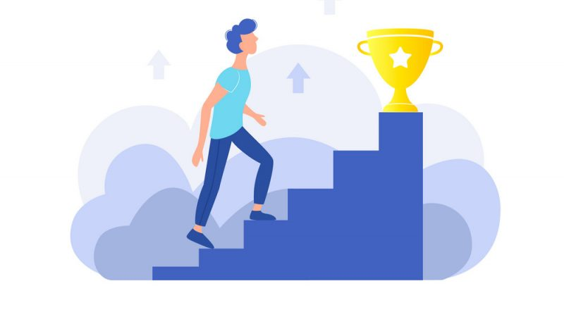 Personal effectiveness, career, success concept. The guy climbs the stairs to the gold cup. Trendy flat design. Vector illustration.